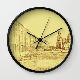 Albert Dock, Liverpool (Digital Art) Wall Clock
