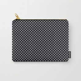 Black and Lilac Gray Polka Dots Carry-All Pouch