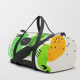 Mid Century Modern Abstract Vintage Colorful Shapes Patterns Lime Green Yellow Pebbles Duffle Bag