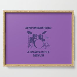 Never Underestimate A Grandpa With A Drum Set Funny Drums Vintage Drummer Distressed Serving Tray