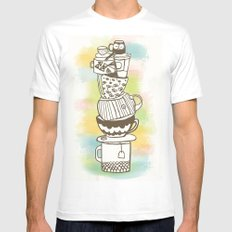 Stack O' Mugs Mens Fitted Tee White MEDIUM