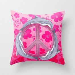 Dolphin Peace Pink Flowers Throw Pillow
