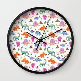 Watercolor dinosaurs pattern Wall Clock