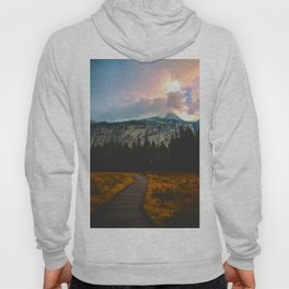 Path leading to Mountain Paradise Mountain Snow Capped Pine trees Tall Grass Sunrise Landscape Hoody