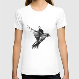 Flying Raven. tribal raven lover black and white raven decor T-shirt