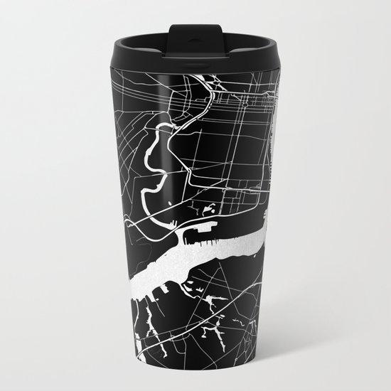 Philadelphia - Black and Silver Metal Travel Mug
