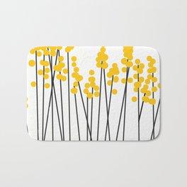 Hello Spring! Yellow/Black Retro Plants on White #decor #society6 #buyart Bath Mat