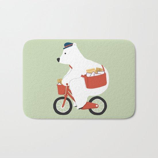 Polar bear postal express Bath Mat