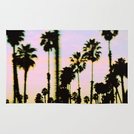 California Dreaming Palm Trees Sunset Rug
