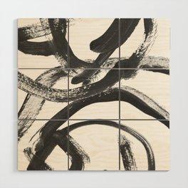 Interlock black and white paint swirls Wood Wall Art