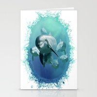 dolphins Stationery Cards featuring Dolphins by Lynne Hoad