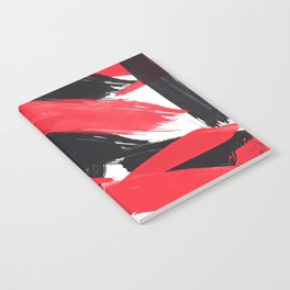 Modern Abstract Black Red Brush Strokes Pattern Notebook