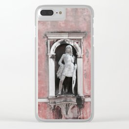 Pink and Black Venetian Building Clear iPhone Case