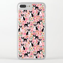 Boston Terrier floral black and white coat essential gifts for boston terriers owners florals Clear iPhone Case