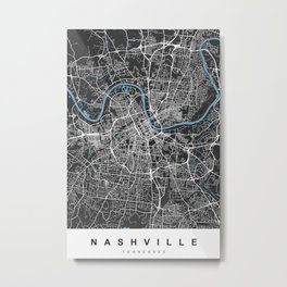 Nashville Map Tennessee | Black & Blue | More Colors, Review My Collections Metal Print
