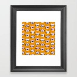 Cat pattern in mustard background Framed Art Print