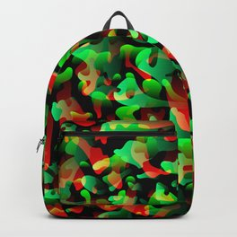 Flowing bright on orange from spots and splashes of green paints. Backpack