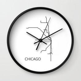 Chicago Metro Map - Black and White Art Print Wall Clock