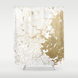 Boston White and Gold Map Shower Curtain