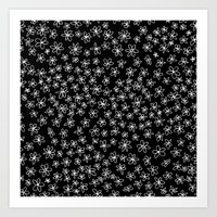 Flowers on Black Art Print