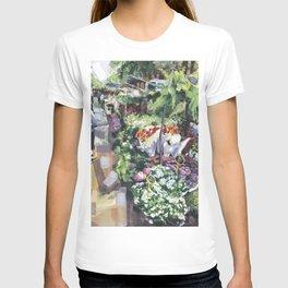 Un marché en plain air commence avec les marchands des fleurs, le printemps, Paris T-shirt