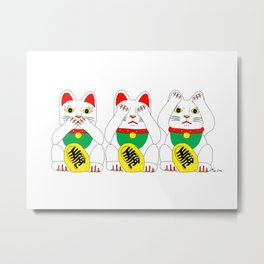 Three Wise Lucky Cats Metal Print