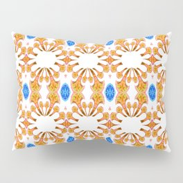 Lush Geometry Series Golden Floral with Sapphire Accent Pillow Sham