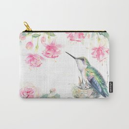 Guardian - watercolor hummingbird with nest Carry-All Pouch