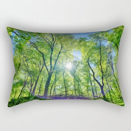 Perfect lens flare in a summer afternoon in the forest Rectangular Pillow