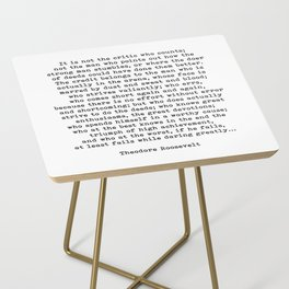 Man In The Arena Theodore Roosevelt Quote Side Table