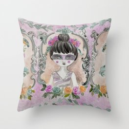 Black swan and her roller skate Throw Pillow