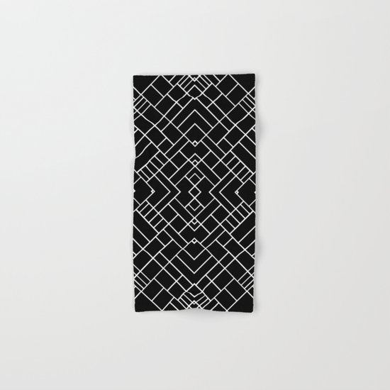 PS Grid 45 Black Hand & Bath Towel