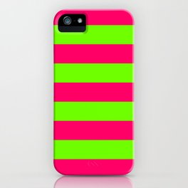 Bright Neon Green and Pink Horizontal Cabana Tent Stripes iPhone Case