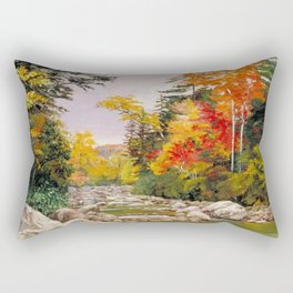 Autumn tints & foliage in the White Mountains, New Hampshire landscape nature painting by Marianne North Rectangular Pillow
