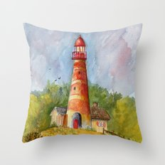Red Lighthouse Throw Pillow