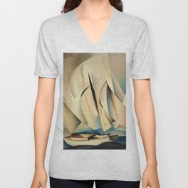 Pertaining to Sailing Yachts and Yachting by Charles Sheeler Unisex V-Neck