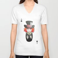 mad hatter V-neck T-shirts featuring Kokeshi Mad Hatter by Pendientera