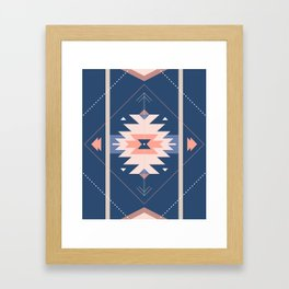 Kilim Inspired Navy Framed Art Print