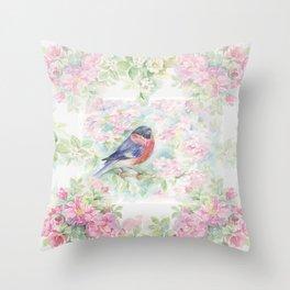 Bullfinch Bird in the Rose Garden Throw Pillow