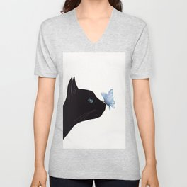 Cat and Butterfly Unisex V-Neck