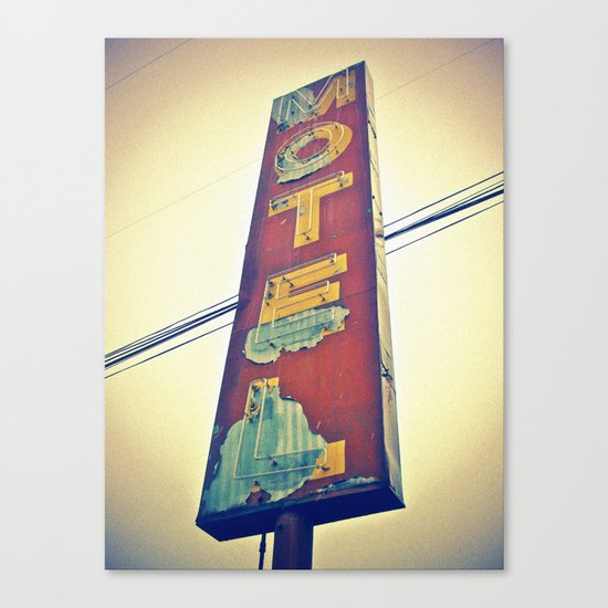 Motel Americana sign Canvas Print