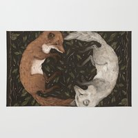 foxes Area & Throw Rugs featuring Foxes by Jessica Roux