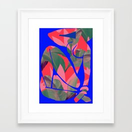 Blue Nude  (Neon red after Matisse) Framed Art Print