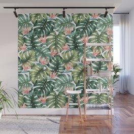 Tropical monstera / Bird of Paradise Wall Mural
