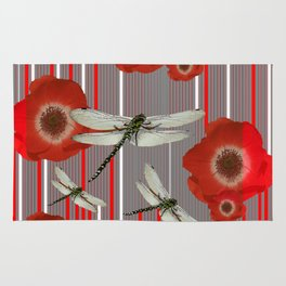 Awesome Dragonflies Red Poppy Flowers Art Rug