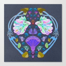 Fantasy Tiger Illustration // Mushrooms, Fantasy Mushroom's, Multicolored Mane || Sea Breeze Color Canvas Print