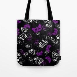 Video Game Purple on Black Tote Bag