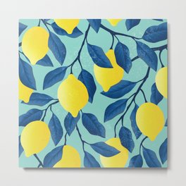 Vintage yellow lemon on the branches with leaves and blue sky hand drawn illustration pattern Metal Print