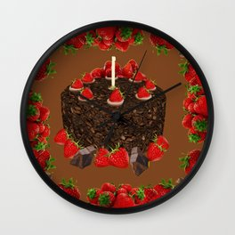 CHOCOLATE & STRAWBERRIES  BIRTHDAY CAKE Wall Clock