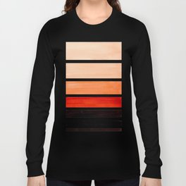 Brown Minimalist Watercolor Mid Century Staggered Stripes Rothko Color Block Geometric Art Long Sleeve T-shirt